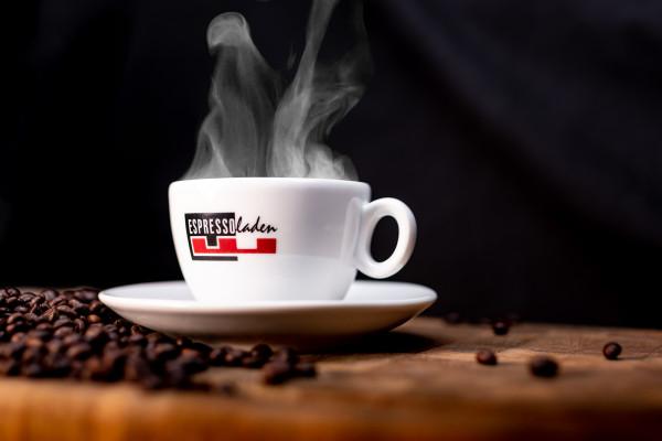 """Cappuccinotasse mit """"Espressoladen"""" Logo"""